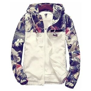 Other - Floral Print Full-Zip Bomber Jacket